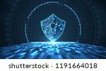 cyber security concept. shield... | Shutterstock . vector #1191664018