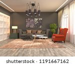 interior of the living room. 3d ... | Shutterstock . vector #1191667162