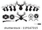 deer hunter heads set | Shutterstock .eps vector #119167315