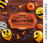 wood background for halloween... | Shutterstock .eps vector #1191689512