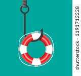 fishing hook with lifebuoy.... | Shutterstock . vector #1191712228