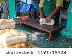 closeup of long loafs cutting...   Shutterstock . vector #1191719428