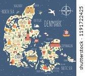 kingdom of denmark map vector ... | Shutterstock .eps vector #1191722425