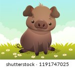 cute little black pig sitting... | Shutterstock .eps vector #1191747025
