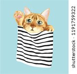 Stock vector cute cat in stripe pocket illustration 1191759322