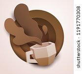 3d vector paper cut coffee... | Shutterstock .eps vector #1191770308