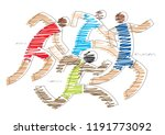 competition runners. stylized... | Shutterstock .eps vector #1191773092