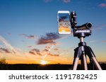 using smartphone on tripod to... | Shutterstock . vector #1191782425