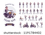 young man riding a chopper... | Shutterstock .eps vector #1191784402