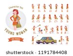 attractive red haired lady... | Shutterstock .eps vector #1191784408