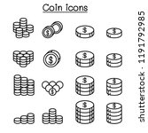money   coin icon set in thin... | Shutterstock .eps vector #1191792985