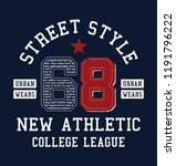68. college style number with... | Shutterstock .eps vector #1191796222