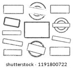 big set of empty rubber stamps. ... | Shutterstock .eps vector #1191800722