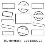 big set of empty rubber stamps. ... | Shutterstock .eps vector #1191800722
