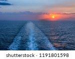 Sea Horizon At Sunset With Ship ...