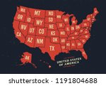 vintage map of united states of ... | Shutterstock .eps vector #1191804688
