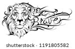 creative lion head tattoo with... | Shutterstock .eps vector #1191805582