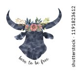 watercolor head of a ox with a... | Shutterstock . vector #1191823612