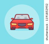 red car flat line icon. vector... | Shutterstock .eps vector #1191852952