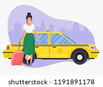 girl with travel bag get a taxi.... | Shutterstock .eps vector #1191891178