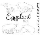 sketch with eggplants. vector... | Shutterstock .eps vector #1191893872