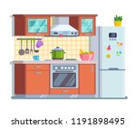 brown kitchen with a yellow... | Shutterstock .eps vector #1191898495