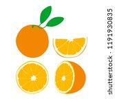 set of vector oranges. orange... | Shutterstock .eps vector #1191930835