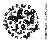 black butterflies on white... | Shutterstock .eps vector #1191939022