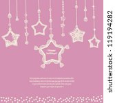card template with cute hanging ... | Shutterstock .eps vector #119194282