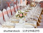 table at a luxury wedding... | Shutterstock . vector #1191948295