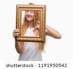 blonde teenager woman holding... | Shutterstock . vector #1191950542