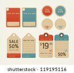Price tags retro color design, vector illustration.