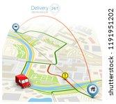 city map navigation route ... | Shutterstock .eps vector #1191951202