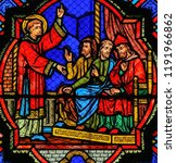 Small photo of Tours, France - August 14, 2014: Stained glass window depicting a Saint preaching in the Cathedral of Tours, France.