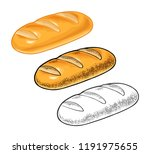 loaf of bread. vector color... | Shutterstock .eps vector #1191975655