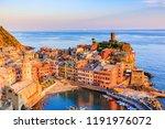 vernazza village at sunset.... | Shutterstock . vector #1191976072