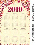 calendar for 2019 year with... | Shutterstock .eps vector #1192010962