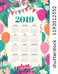 calendar for 2019 year with... | Shutterstock . vector #1192012552