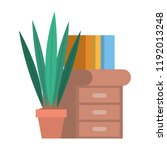 houseplant with drawer and books | Shutterstock .eps vector #1192013248