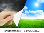 blank sheet of paper with hand... | Shutterstock . vector #119202862