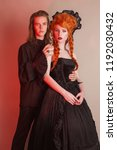 gothic couple in halloween... | Shutterstock . vector #1192030432