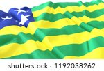 3d render  realistic wavy flag... | Shutterstock . vector #1192038262