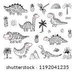 cartoon dinosaur vector set.... | Shutterstock .eps vector #1192041235