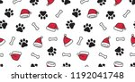 dog paw seamless pattern vector ... | Shutterstock .eps vector #1192041748