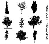 set of silhouettes of trees | Shutterstock .eps vector #119205052