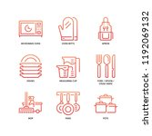 kitchen and cookware icons | Shutterstock .eps vector #1192069132