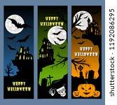 halloween banners leaflets blue ... | Shutterstock .eps vector #1192086295