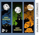 halloween banners leaflets blue ... | Shutterstock .eps vector #1192086325