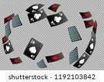 playing cards falling on black... | Shutterstock .eps vector #1192103842