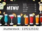 alcohol drinks menu. bar... | Shutterstock .eps vector #1192125232